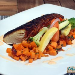 Corvina fish with veggies
