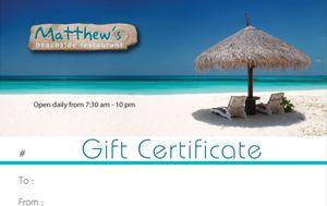 A sample Matthew's Gift Certificate