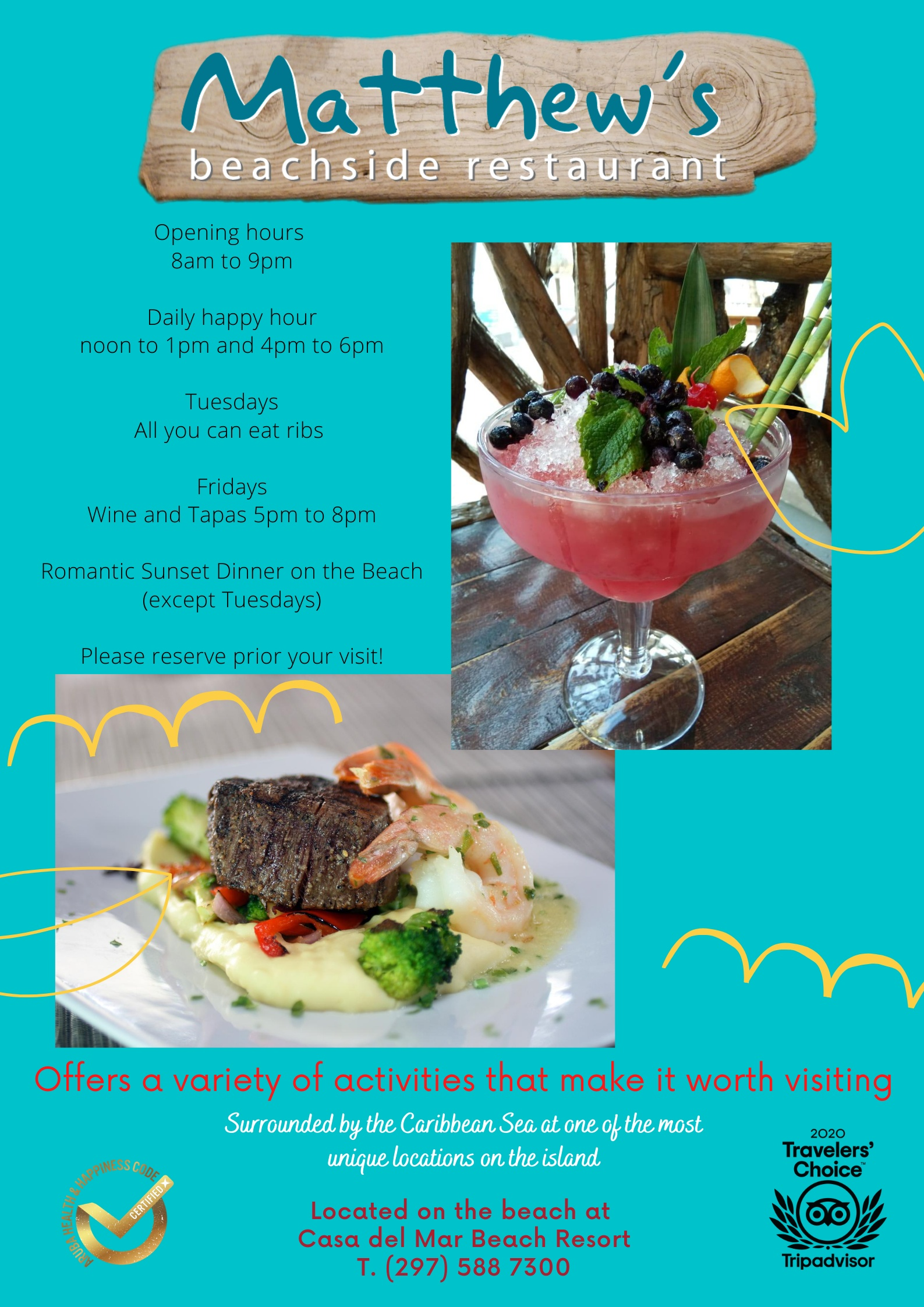 Activities flyer with Daily Happy Hours (noon-1pm & 4pm-6pm), Tuesday All You Can Eat Ribs and Friday Wine & Tapas (5pm-8pm)